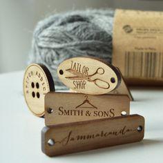 Personnalisé Carré Tags for Handmade produits Tricot Crochet en Bois