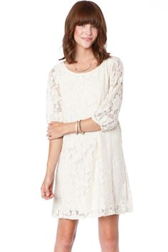 ShopSosie Style : Lotus Lace Shift Dress in Ivory