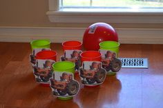Tractor Tippin' bowling game for Disney Pixar Cars/Lightning McQueen birthday party