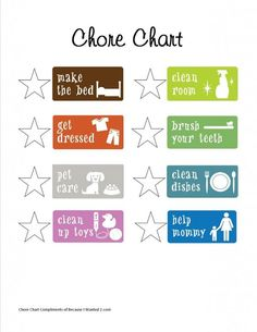 Cute Chore Chart for the kids: