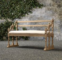 "18th C. English Hall Bench  Dimensions Bench: 60""W x 24""D x 39""H Seat: 11½""H (14½""H with cushion)  Cushion: 56""W x 19½""D x 3""H"