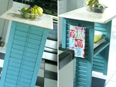 Create a kitchen island with old shutters. #diy #home http://www.ivillage.com/what-keep-or-toss-your-home/7-b-509164#510568