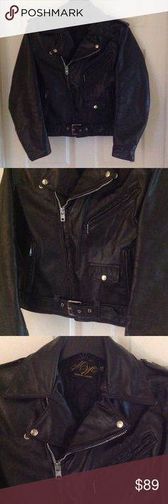 Men's Vintage Leather Motorcycle Jacket Vintage black leather motorcycle jacket in a size 38 from Montgomery Ward's. Fits like a roomy small, or a fitted medium. Shoes wear throughout, but overall good condition. Vintage Jackets & Coats