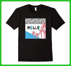 Mens Hello Summer | Beach Palms | 80s & 90s Retro Vintage Style 3XL Black - Retro shirts (*Amazon Partner-Link)
