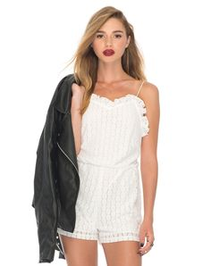 48fe716340 Tibi Strappy Playsuit in Flower Chain Lace white by Motel