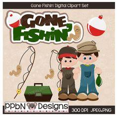 Gone Fishin Digital Clipart for Card Design, Web Designs, Scrapbooking and Print Design
