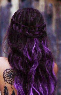 cabelo ondula com trança - roxo