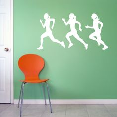 Girl Runners Wall Decals, Set of Track and Field Relay Runners Stickers, Girls Bedroom Sports Removable Wall Mural Graphics Sports Wall Decals, Vinyl Wall Stickers, Decorating On A Dime, Removable Wall Murals, Old Room, Runner Girl, Girls Bedroom, Interior And Exterior, Amber