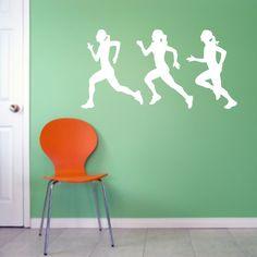 Runner Girls Set Sports Wall Decals, Stickers