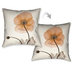 Laural Home X-Ray Poppy Decorative Throw Pillow (18x18), Beige Off-White, Size 18 x 18 (Polyester, Floral)