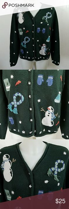 "Hand Embroidered Christmas Cardigan Sweater Hand Embroidered Christmas Cardigan Sweater by Christopher and Banks. In great condition. Size medium.  Bust 44"" Length 23"" Christopher & Banks Sweaters Cardigans"