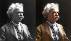 Mark Twain - original photo and colorized