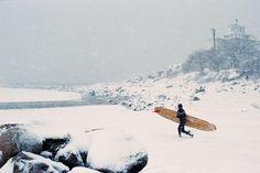 "twodragsoflife: "" Winter Storm Jonas // Patrick Gloucester MA 2016 Evening surf…"