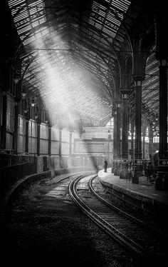 Brighton Station by Andy Gardner. Visit Brighton, Brighton And Hove, Monochrome Photography, Black And White Photography, Photography Tags, Travel Pictures, Past, Scenery, Amazing
