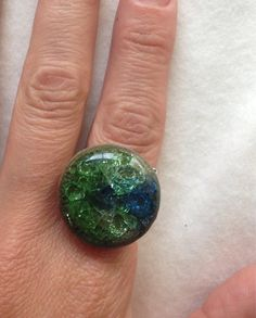Handmade Unique Pottery with melted Blue Green Sea Glass on a Silver plated ring adjustable lead and nickel free ring on Etsy, $25.00