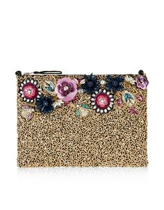 Exude glamour with our Imogen zip-top pouch bag. Embellished with sequined and beaded bugs and floral designs, this piece is a savvy way to work colour into all-black evening wear. Drawstring Bag Diy, Accessorize Bags, Boho Bags, Pouch Bag, Pouches, Types Of Bag, Evening Bags, Women's Accessories, Purses And Bags