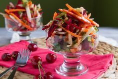 DELUXE CHERRY AND FENNEL SALAD 2 tablespoons unsalted raw pumpkin seeds Dressing: 2 tablespoons pear white balsamic vinegar 1 tablespoon extra-virgin olive oil 1 teaspoon yellow mustard Salad: 1 fennel bulb, thinly sliced 1 carrot, cut matchstick style 2 celery stalks, sliced thin ½ cup pitted cherries ½ cup roughly chopped flat leaf parsley 1 large red beet, cut matchstick style Salt and pepper, to taste Instructions