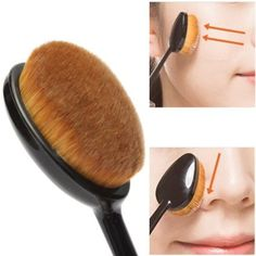 Oval Makeup Beauty Brush Cosmetic Foundation Cream Powder Blush Makeup Tool - The Accessory Nook  - 2