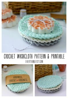 DIY Crochet Washcloths {Free Circle Pattern} - also free crochet printable & link to Salted Soap DIY