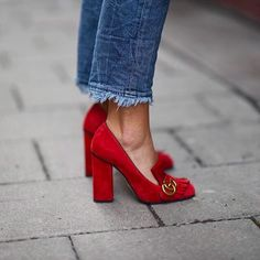 Gucci red fringed pumps