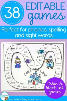 Editable games are perfect for differentiating your sight words, phonics and spelling. #sightwords #spelling #phonics #editablegames #kindergarten