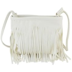SheIn(sheinside) White Pu Leather Tassel Along Bag (43 BRL) ❤ liked on Polyvore featuring bags, handbags, sheinside, white, satchel handbags, polyurethane bags, pu handbag, leather tassel purse and leather tassel bag