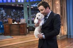 Jimmy Fallon and puppy