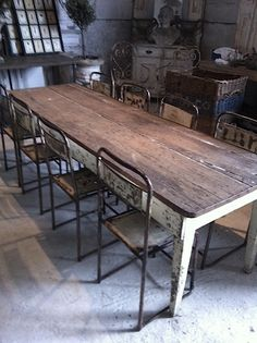 rustic wood farmhouse kitchen dining table