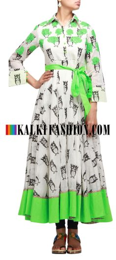 Buy Online from the link below. We ship worldwide (Free Shipping over US$100 http://www.kalkifashion.com/anarkali-kurti-with-owl-print-and-thread-work.html Anarkali kurti with owl print and thread work