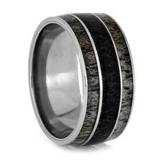 Fossil Ring With Deer Antler, Dinosaur Bone And Titanium Wedding Band-2734