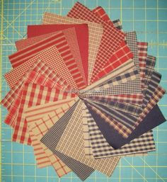 """48 Dunroven House Homespun  5"""" Charm Fabric Bundle Red / Navy / Wheat #Unbranded"""