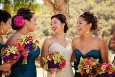 yup!  dark blue/navy dresses!  exactly what I imagine!...Bridesmaids Mexican Wedding from rusticweddingchic.com