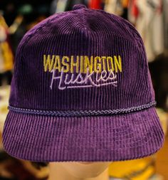 best service c7974 c9cfe Washington Huskies Cord with Leather strapback Excellent conditon by  OfficialsVintage on Etsy. Officials Vintage
