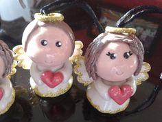 Fimo polymerclay porcelana fría angels ángeles bautizo primera comunión recordatorio gift favors