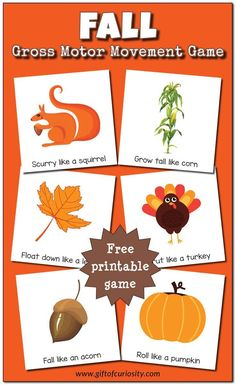 Free printable Fall Gross Motor Movement Game What a fun idea for giving kids a movement break during the day Gift of Curiosity Fall Preschool Activities, Gross Motor Activities, Preschool Crafts, Toddler Activities, Preschool Fall Theme, Physical Activities, Music Activities, Therapy Activities, Toddler Storytime