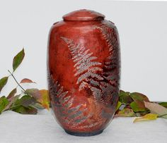 Red Fern Raku Urn 10.5 in. tall with copper and by carlaniehaus