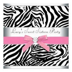 Pink Zebra Sweet Sixteen Birthday Party Personalized Invites