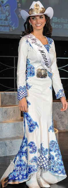 Miss Rodeo Minnesota, Sabrina Behr wears a white lambskin dress
