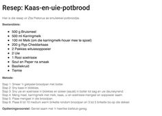 Kaas en uie potbrood Camping Foods, South African Recipes, 60th Birthday Party, Afrikaans, Scones, Kos, Side Dishes, Recipies, Heaven