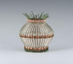 """Twine & Corrugate"" by Sharon Stafford Metals; silver-plated wire, copper strip, colored copper wire"