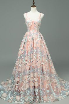 Fabulous Chic A-line Long Prom Dress With Floral Floor Length Prom Dresses Long Evening Dress Floral Prom Dresses, Senior Prom Dresses, Royal Dresses, Ball Dresses, Elegant Dresses, Ball Gowns, Graduation Dresses, Long Dresses, Princess Dresses