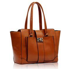Front PocketLock - Brown Tote Bag, Handbags, Brown, Women, Fashion, Totes, Moda, Women's, La Mode