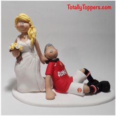 A Bride Dragging Groom Manchester United Football Wedding Cake Topper Totallytoppers