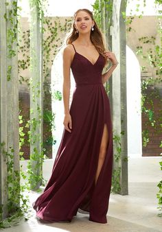 3d266e38d9a3 Morilee Bridesmaids 21622 Sexy Chiffon Bridesmaid Dress Featuring a Deep V,  Lace Bodice and Flowy Chiffon Skirt with Side Slit.