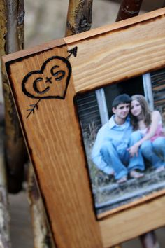 Personalized Rustic Wood Picture Frame  Engraved by NanaMontana, $30.95