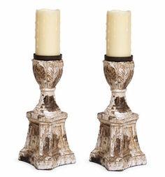 Pedestal Pillar Candle Holders, Set of 2