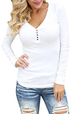 16161b7e91d9 Women's Henley Shirts - FISACE Womens Solid Basic Ribbed Long Sleeve Knit Henley  Shirt Tops *