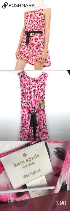 NWT Kate Spade pink floral cover up lounge dress Very feminine with hot pink flowers drawn in some kind of watercolor style. It is a swimsuit cover but would be great for a lounge sexy dress to stay at home with your boo. It has an adjustable wide black ribbon so you can emphasize your waist area. Gold button and keyhole in the back. Size XL flat measurements in inches are chest 22 1/2 waist 21 hips 27 top to bottom 37 kate spade Swim Coverups