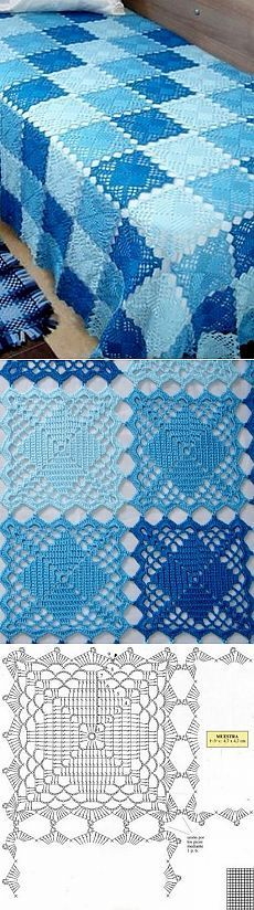 Transcendent Crochet a Solid Granny Square Ideas. Inconceivable Crochet a Solid Granny Square Ideas. Crochet Afghans, Crochet Bedspread, Crochet Quilt, Crochet Blocks, Crochet Squares, Crochet Home, Crochet Granny, Filet Crochet, Crochet Motif