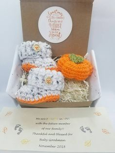 Excited to share the latest addition to my #etsy shop: October, November, Fall baby announcement, Grandparent announcement, Newborn Baby Booties, Pregnancy announcement, Baby Announcement, Daddy #clothing #shoes #children #white #babyshower #halloween #orange #novemberbaby #grandparentreveal #fallbaby #pumpkin #amigurumi https://etsy.me/2GBMooA